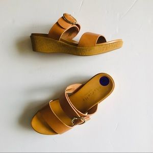 Marielle Two Strap Leather Sandal Wedges